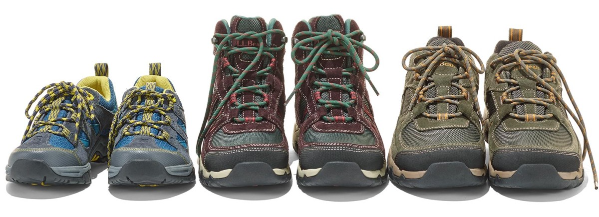 Three pairs of trail shoes and boots