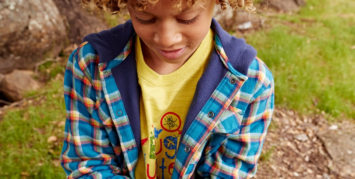 Close-up of boy outside wearing L.L.Bean Fleece-lined Flannel Hoodie.