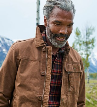 Close-up of man outdoors wearing L.L.Bean apparel