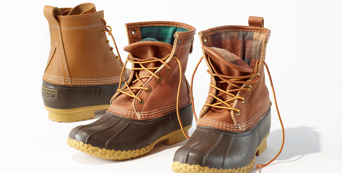 Three classic bean boots, two with chamois lining.