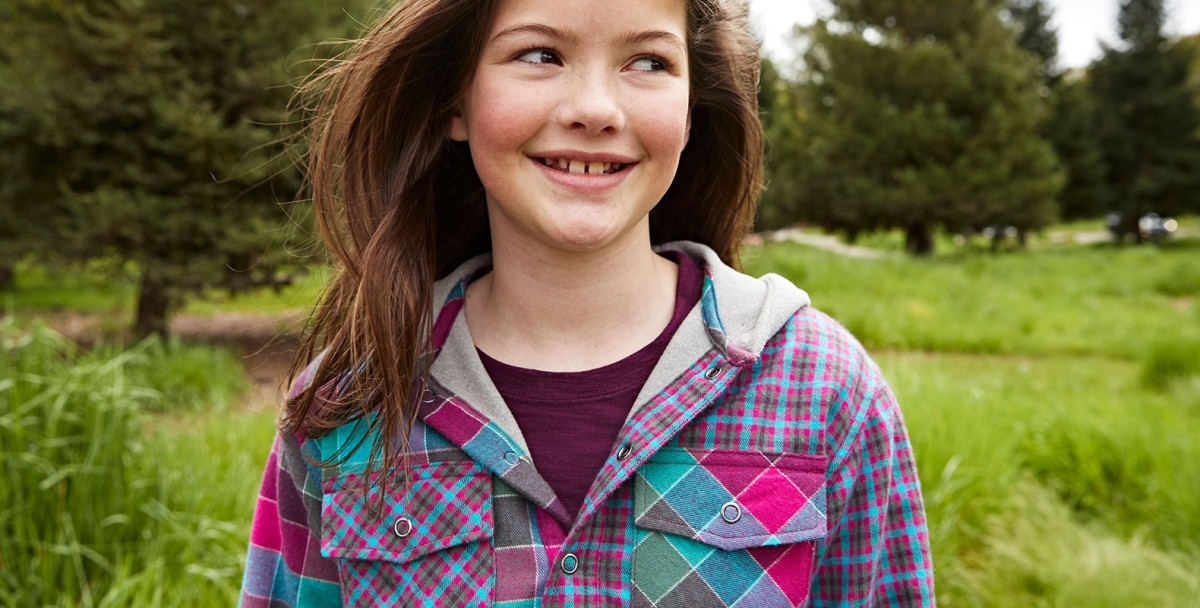 Close-up of girl outside wearing L.L.Bean Flannel-lined Hoodie.