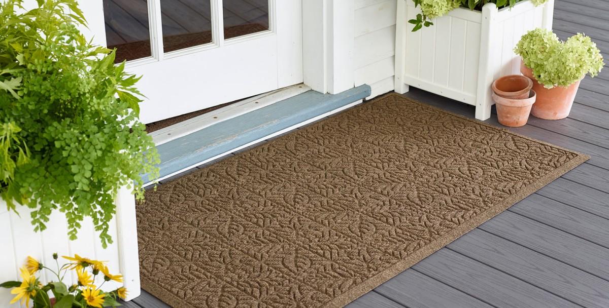 Leaf print waterhog doormat on porch
