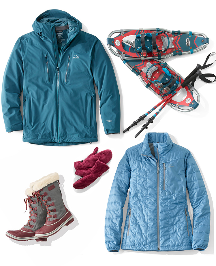 An assorment of L.L.Bean winter apparel and accessories.