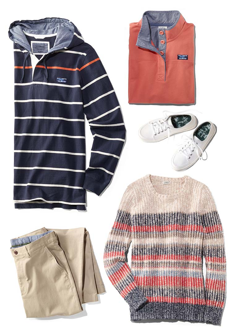 An assortment of spring clothing and footwear
