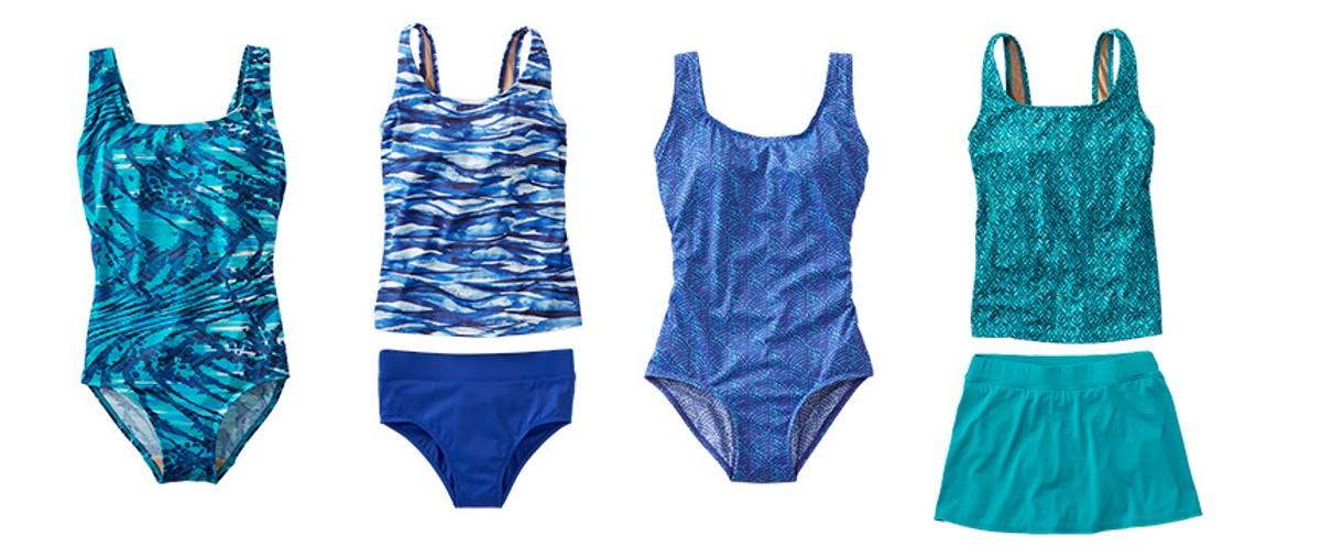 An assortment of L.L.Bean BeanSport swimsuits.