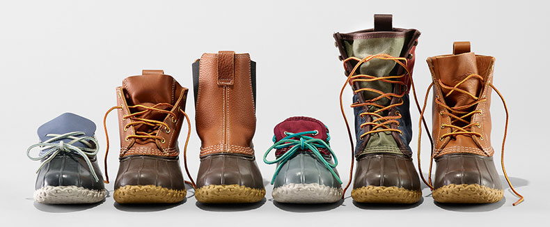 An assortment of L.L.Bean Boots.