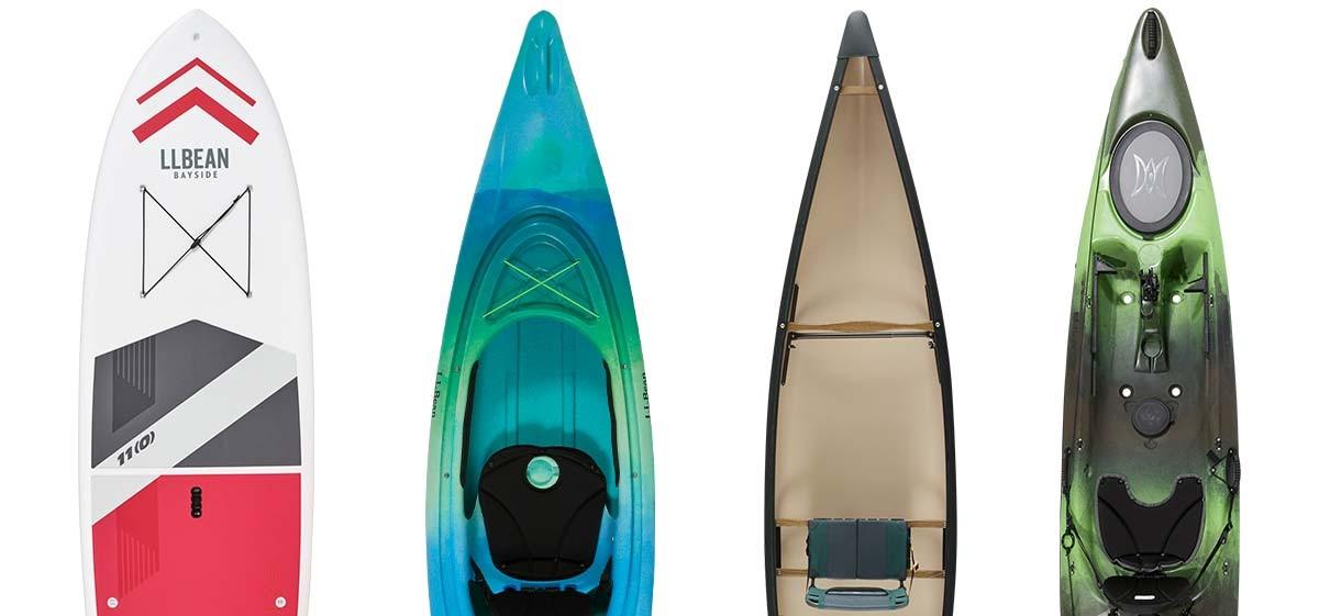 Different styles of Kayaks and Stand Up Paddle Boards