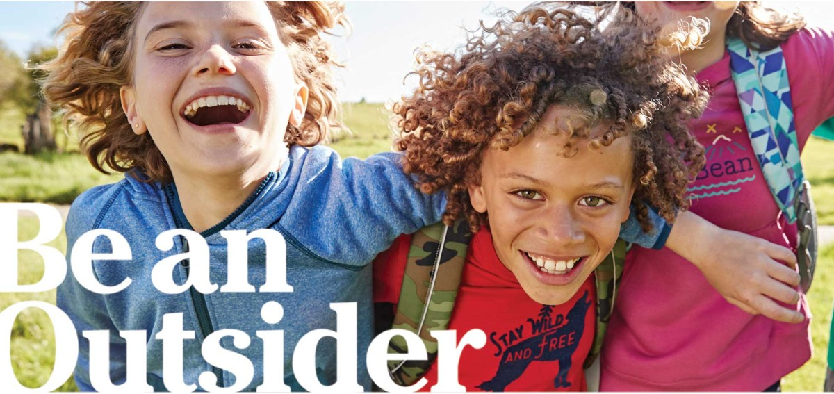 3 smiling kids arm-in-arm wearing L. L. Bean backpacks. Be an Outsider.