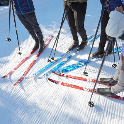 Close up of skis and poles.