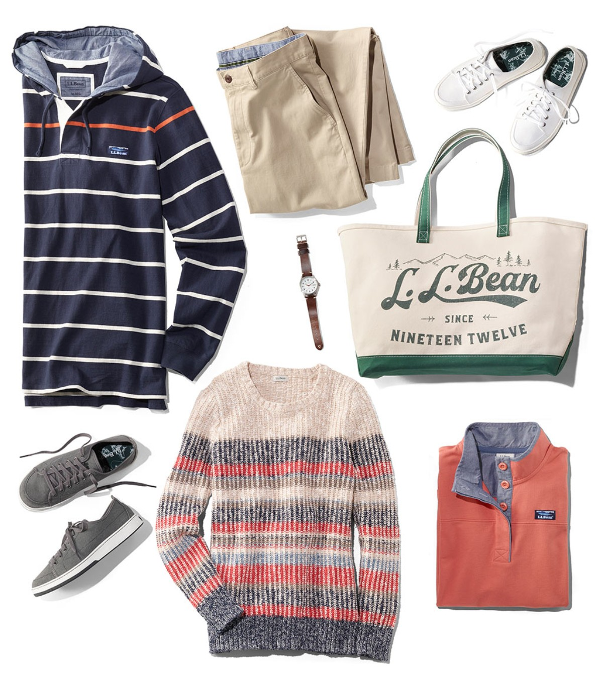 An assortment of L.L.Bean spring clothing and accessories.