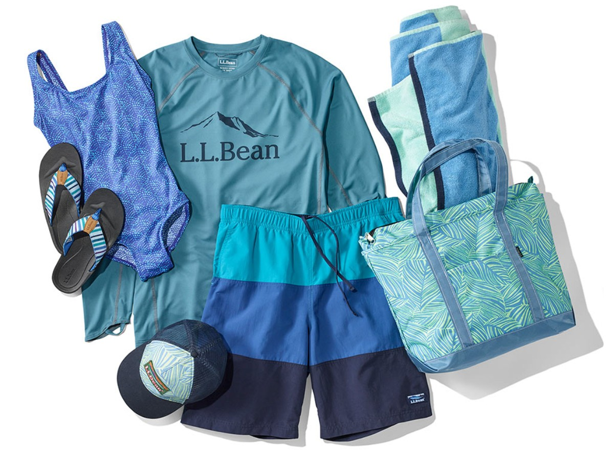An assortment of Men's and Women's swim clothing and accessories.