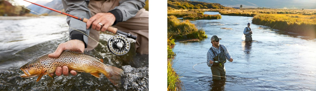 Two images of men fly fishing and catching large fish.