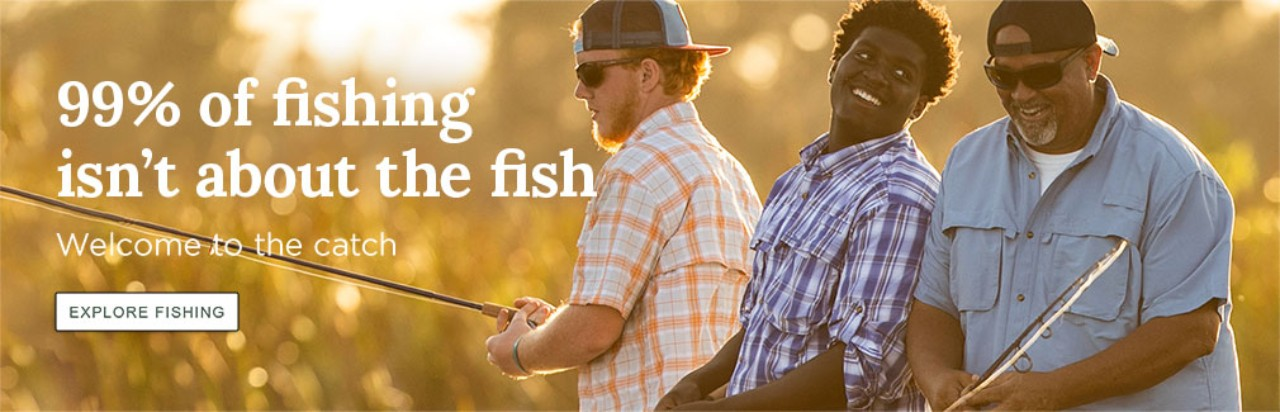 "Close-up of 3 men fishing, ""99% of fishing isn't about the fish. Welcome to the catch."""
