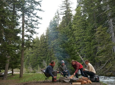Photo of a group of people camping