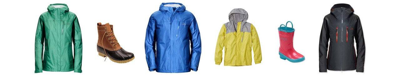 A selection of raincoats interspersed with boots