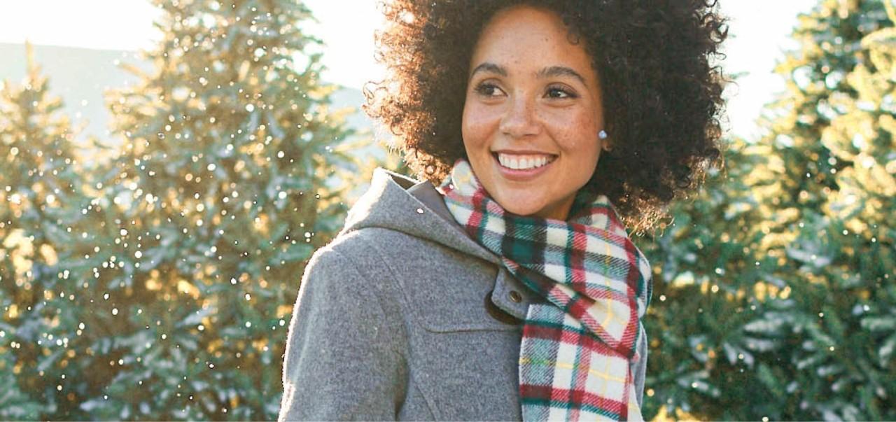 Woman in wool coat