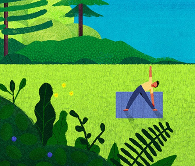 Illustration of a person doing yoga outside.