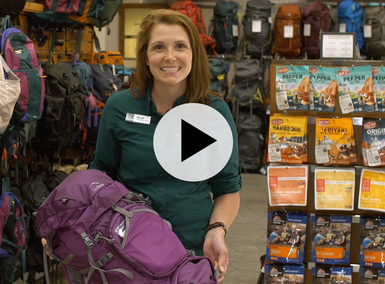 An L. L. Bean Customer Service Rep holding a hiking pack, and a play video symbol.