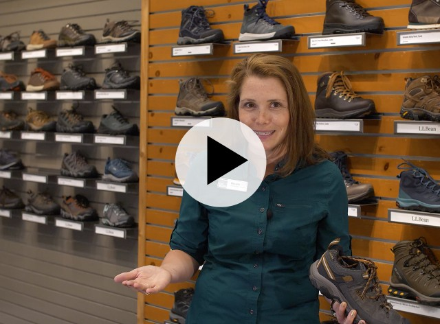An L. L. Bean Customer Service Rep holding a hiking boot, a play video icon in the center.