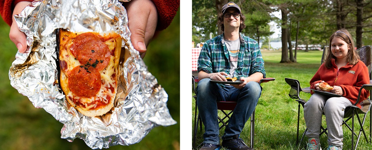 2 images: hands holding french bread pepperoni pizza in alumninum foil and father and daughter enjoying their meal outside.
