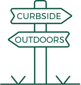 Trailhead illustration. Curbside arrow pointing right, outdoors arrow pointing left.