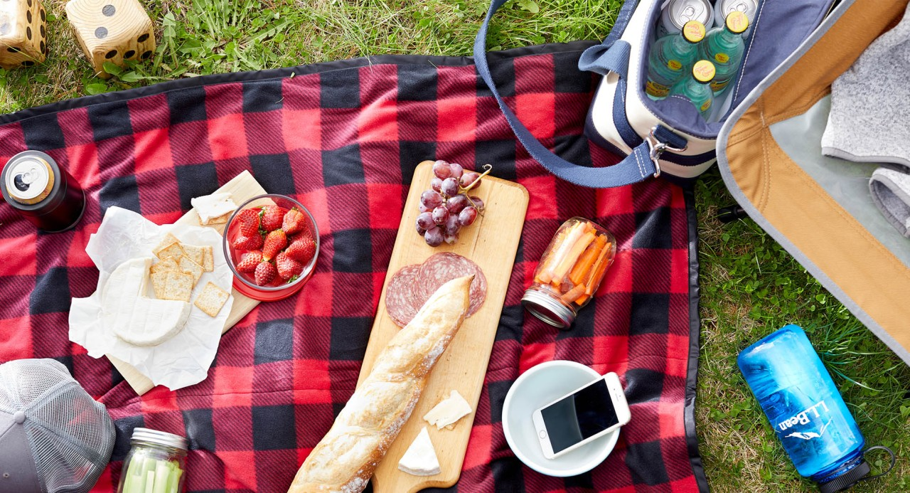 Overhead close-up of picnic spread on blanket on the grass.