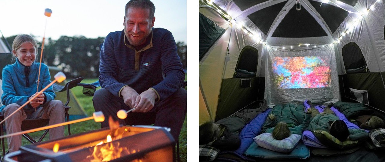 Father and daughter roasting marshmallows and inside tent lights strung above 2 kids in sleeping bags.