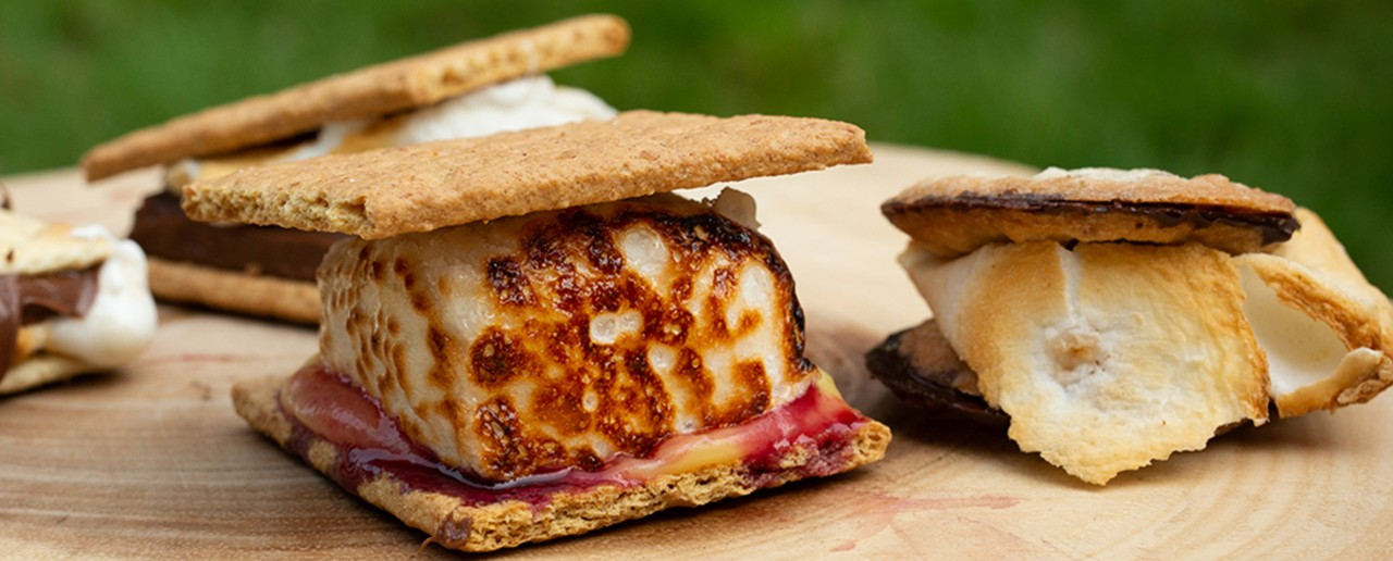 Close-up of a few different toasty s'mores.