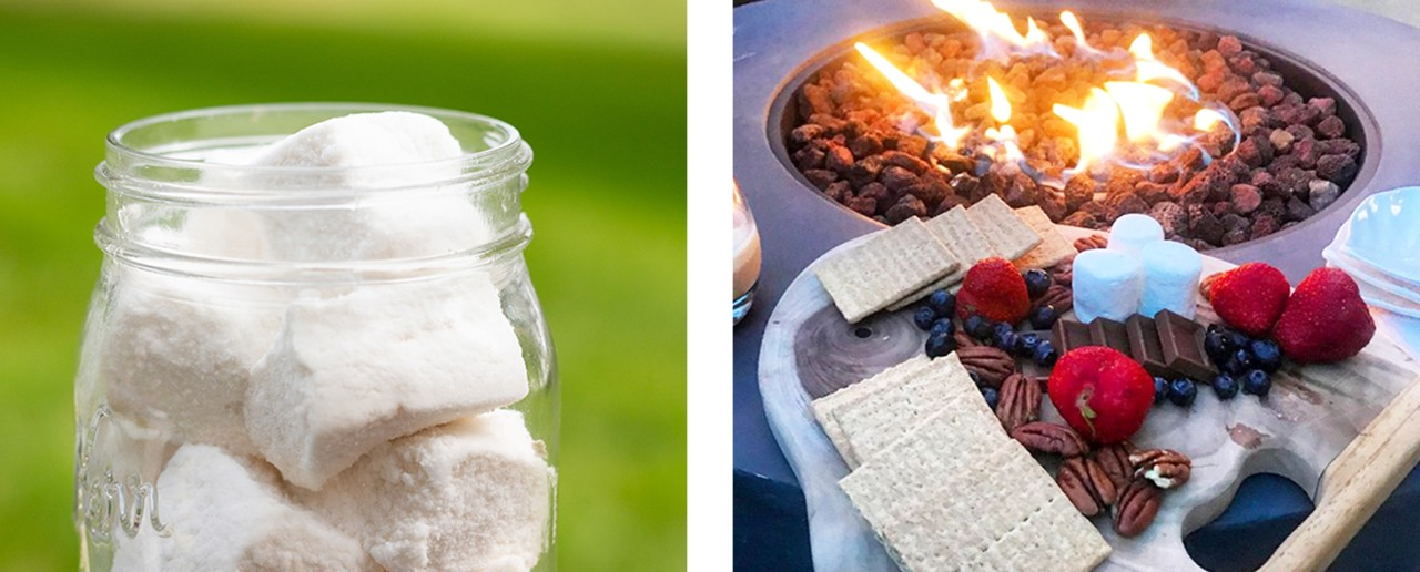 A tray of s'more fixings and a jar of homemade marshmallows