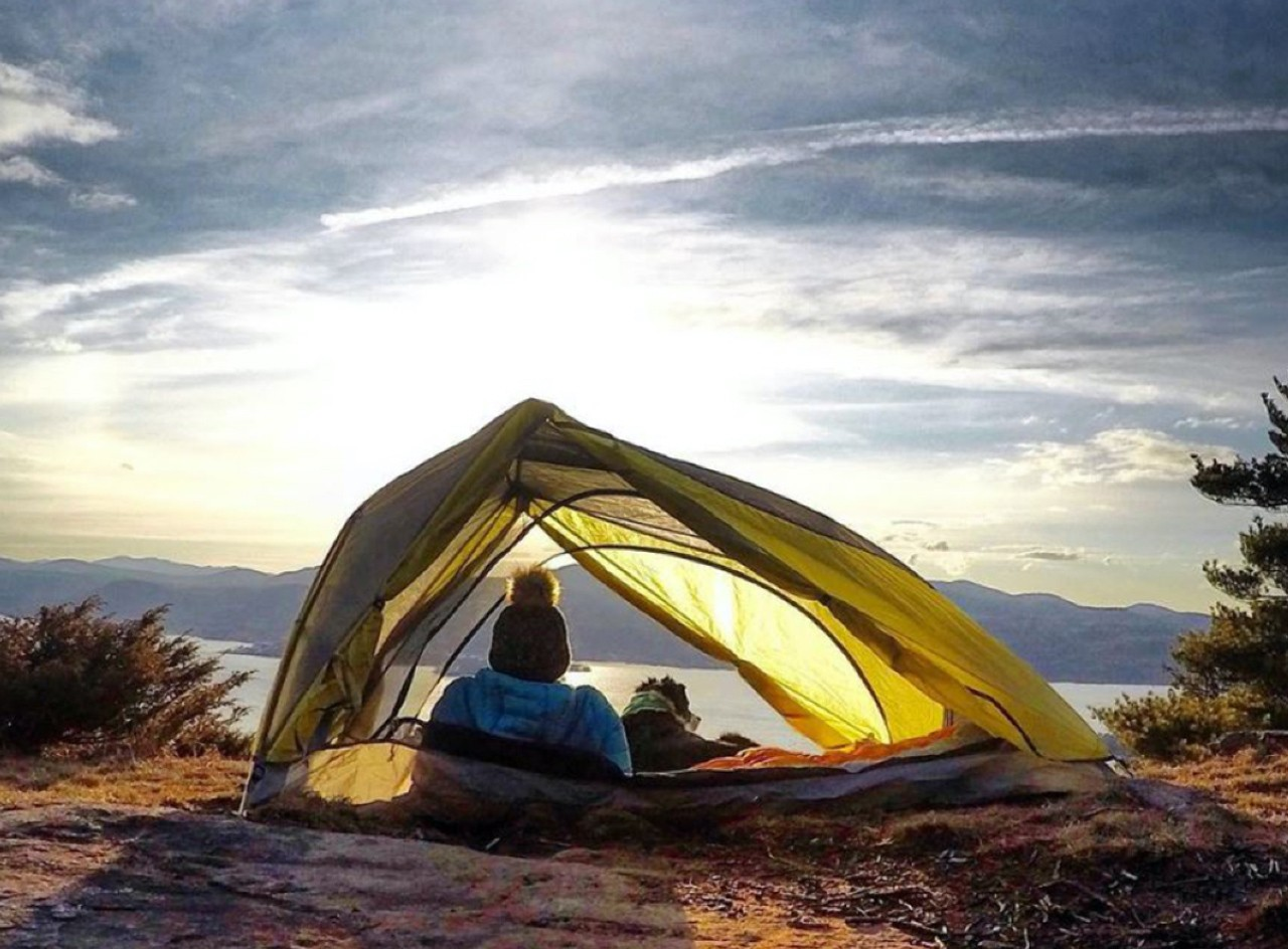 A person and a dog inside a tent watching the sunset.