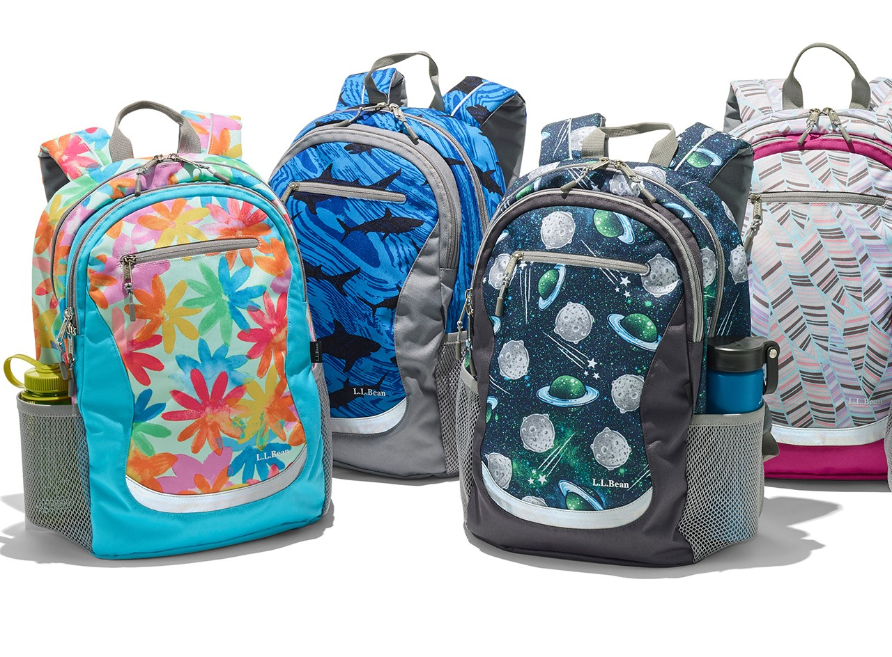 Group of school backpacks