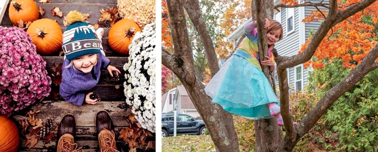A toddler outside on steps with mums and pumpkins, and a little girl in costume climbing a tree.