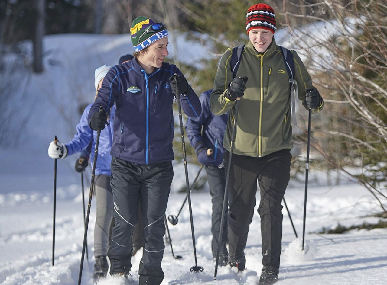 Family cross-country skiing.
