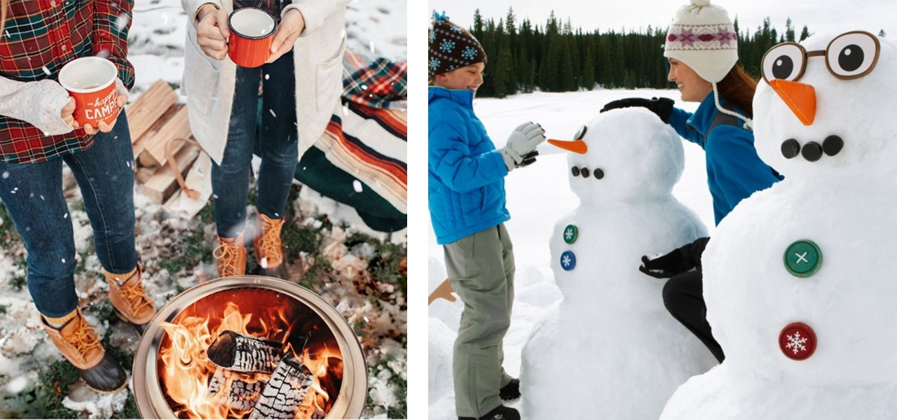 Bean Boot clad feet standing around a roaring firepit in winter and a mother and daughter building snowmen.
