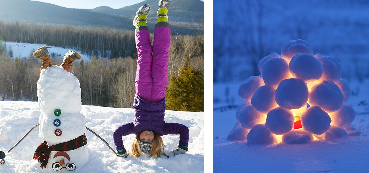 A girl doing a head stand next to an upside down snowman, and a snowball lantern lit up at night.