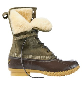 Tumbled Leather Shearling-Lined Bean Boot