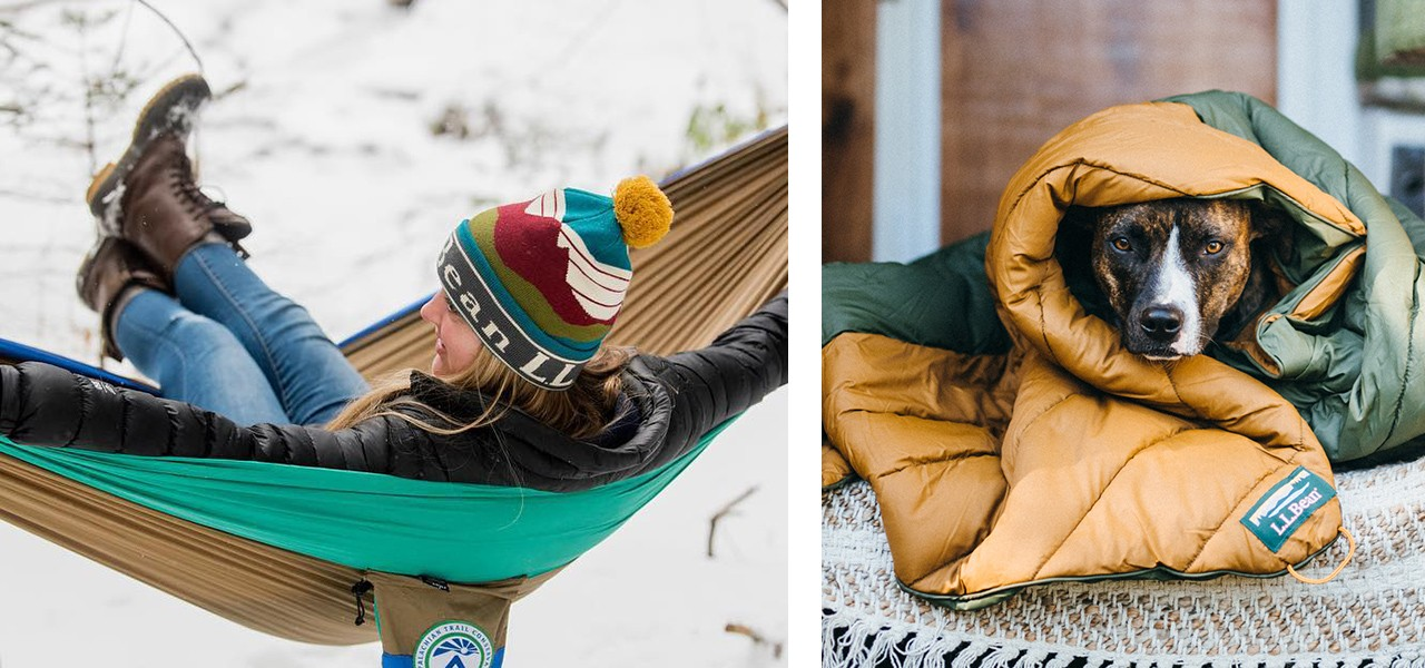 A woman lying in a hammock on a winter day, and a dog on a porch wrapped in a sleeping bag.