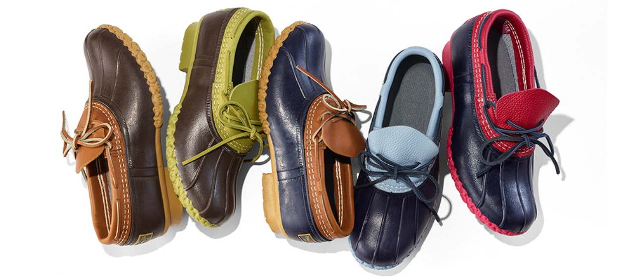Line up of 5 different colors of Rubber Mocs.