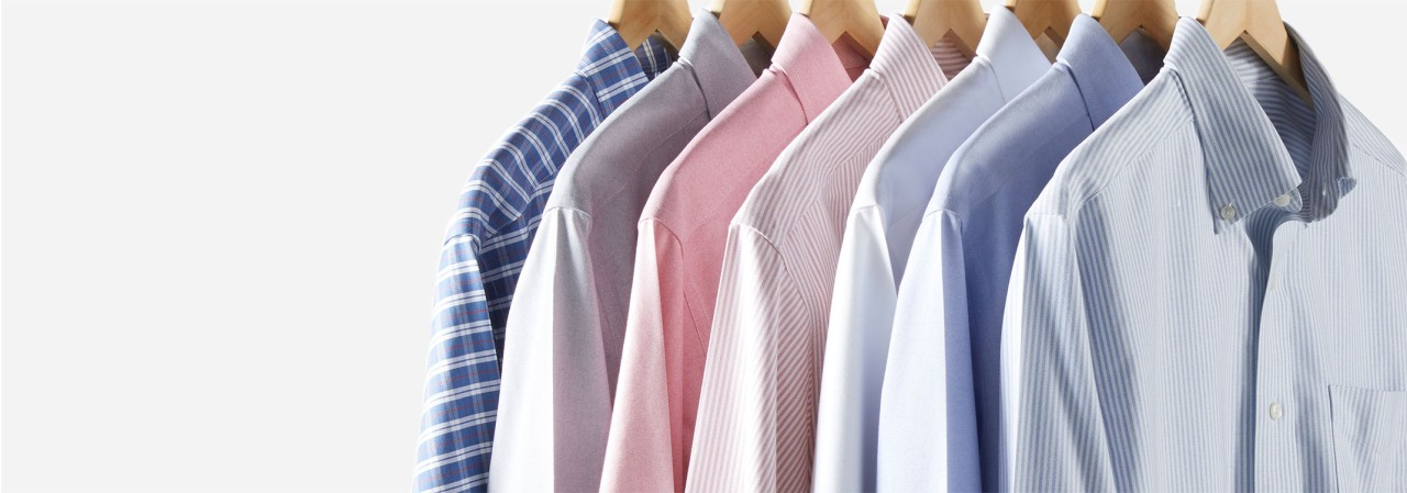 Close-up of 7 wrinkle-free shirts on hangers
