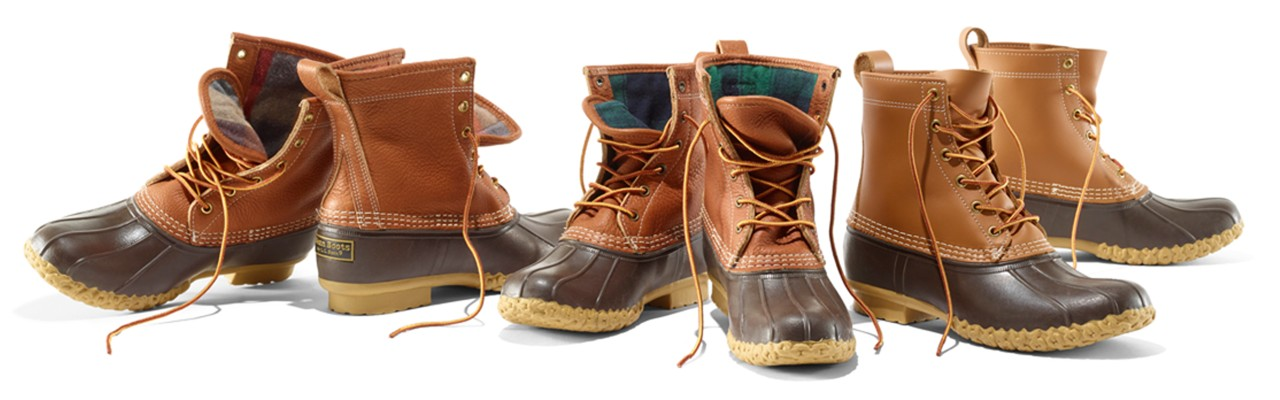 3 pair of Bean Boots, 2 with flannel lining showing.