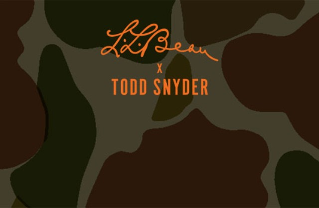 Camo background with Todd Snyder & L. L. Bean logo.