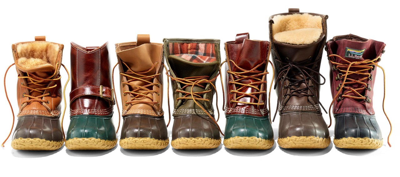 7 different Bean Boots all lined up.
