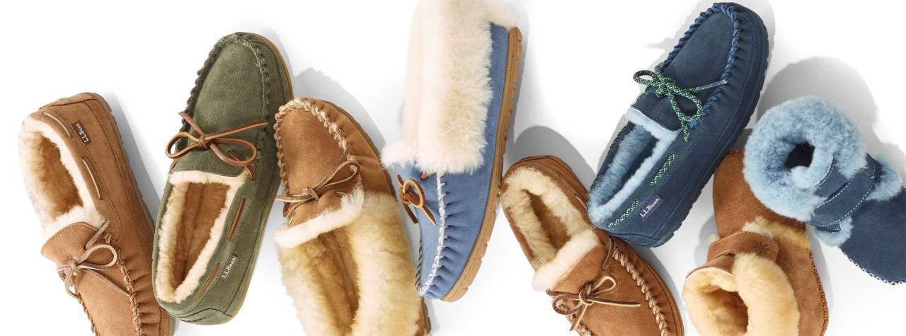 An assortment of slippers for the whole family.