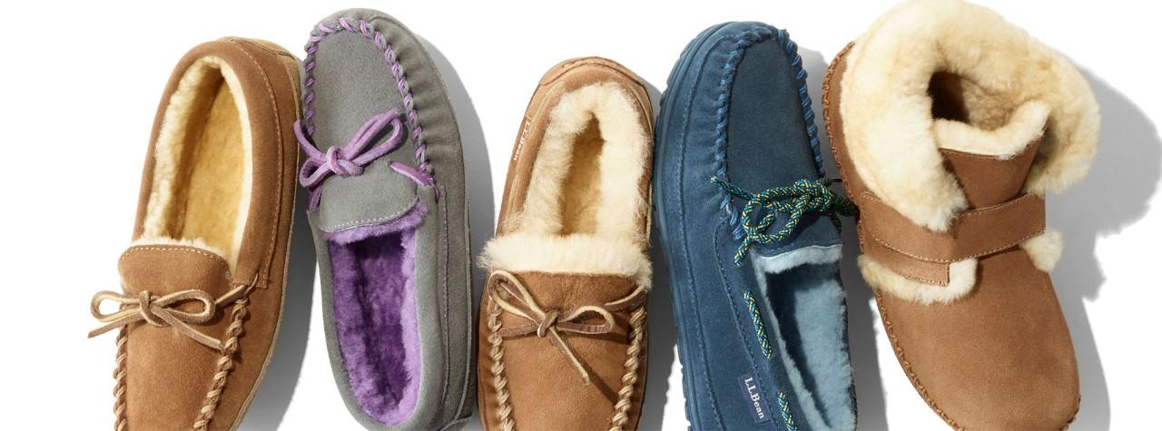 An assortment of kids' slippers.