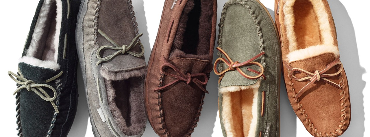 An assortment of men's slippers.