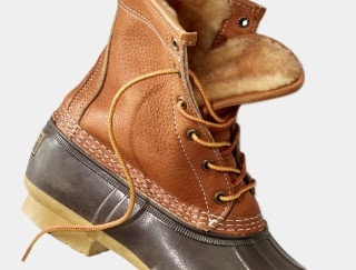 Close-up of pair of shearling-lined Bean Boots