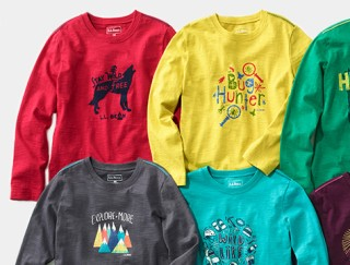 Splay of several kids' graphic tees