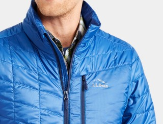 Close-up of man wearing L. L. Bean down Jacket