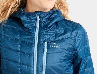 Close-up of woman wearing L. L. Bean down Jacket