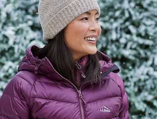 Close-up of smiling woman outside in L.L.Bean outerwear